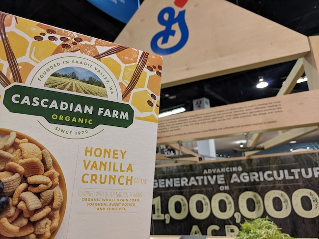 box of cereal at general mills trade show booth